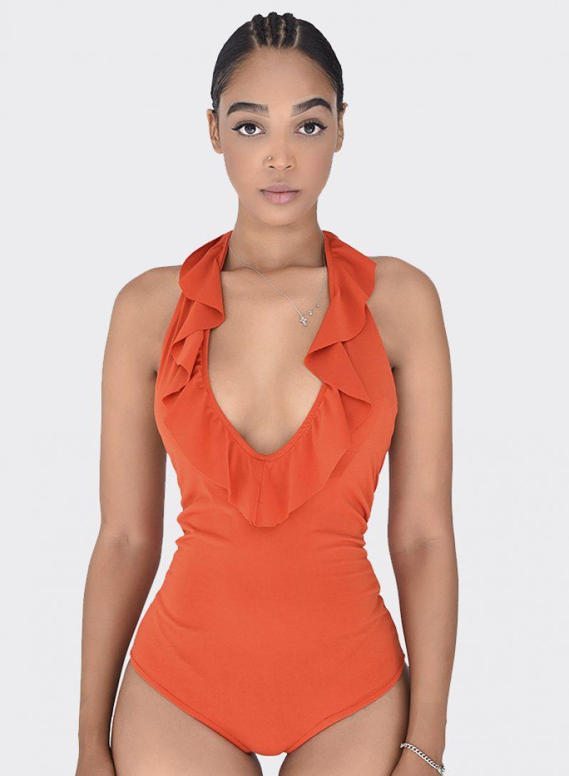 Body con volantes naranja